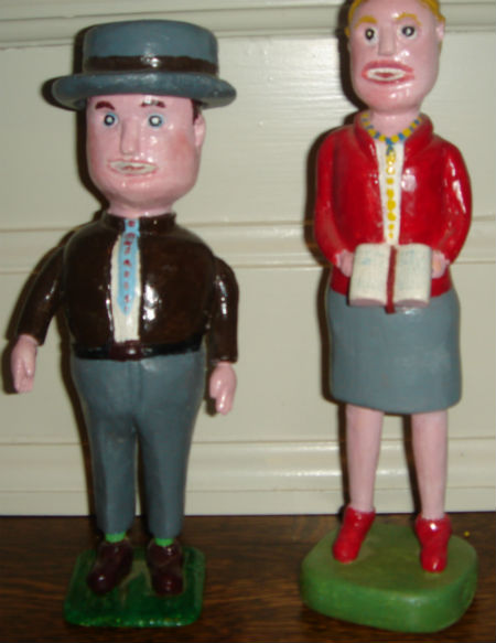 Two Carved Figures. Found in Quebec. 1960's.