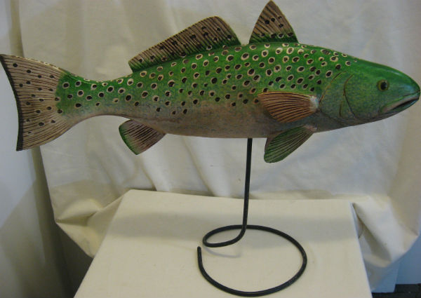 Unsigned Carving of a Fish. Painted Pine on a wrought Iron Stand. C.1960.