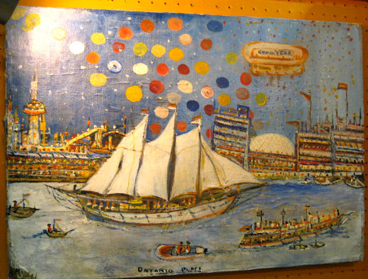 Unsigned Oil on panel of Ontario Place.