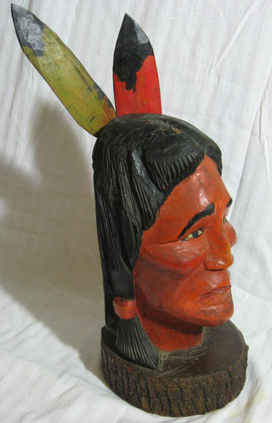 Unsigned. Anonymous Carving of an Indian Warrior. 1960's. Quebec.