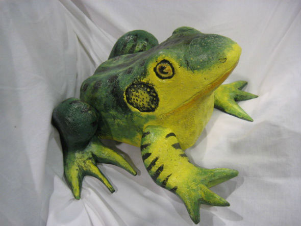 A Carving of a Bullfrog by Leonard Croteau. St-Etienne-des-Gres, P.Q.