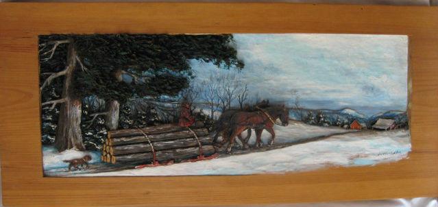 Yvonne Bolduc. Baie-Saint-Paul, Charlevoix, Quebec. Bas Relief. Sledding Logs. 1954.