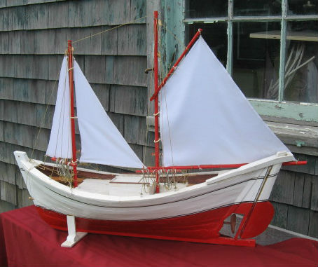 Model Gaspe Fishing Boat. Circa 1950. Signed A . Couillard.