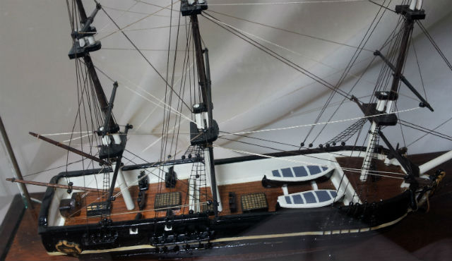 A detail of the Carmicheal Ship model of the Bounty