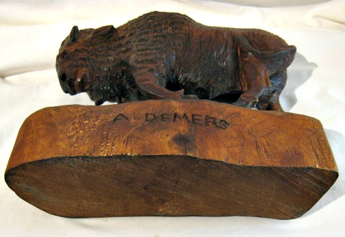 Albert Demers. Laval, Quebec. His carved mark on a Buffalo.