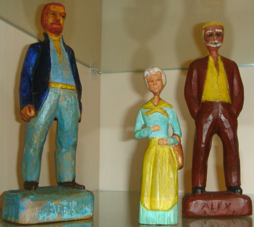 Alex Campbell. Alexandria, Ontario. Three signed carvings. 1950's.