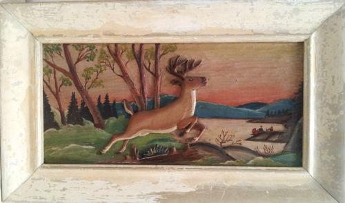 J.P.Clement. St. Adele Quebec. Bas Reliel A Deer in the Laurentians. 1930's.