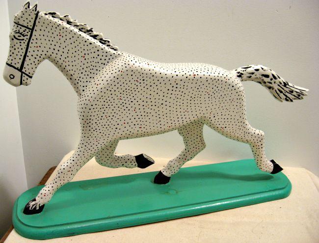 Leo Boisvert. Quebec. Carving of  White Polka Dotted Horse. 1970's. 20 inches long.