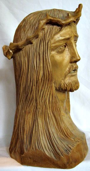 Medard Bourgault. St-Jean-Port-Joli, Que. Carving of the Head of Christ. Signed and dated 1945.