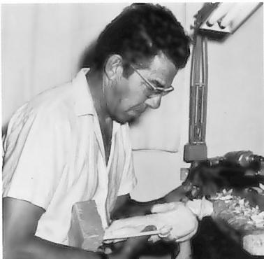 P. E. Caron in his studio.