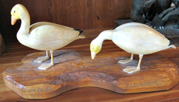 P. Levasseur. Quebec. A Pair of carved Snow Geese.