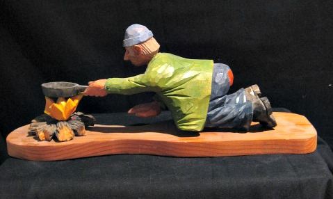 Phillip Renaud. Wood carver. Oshawa, Ontario. The tramp at breakfast.