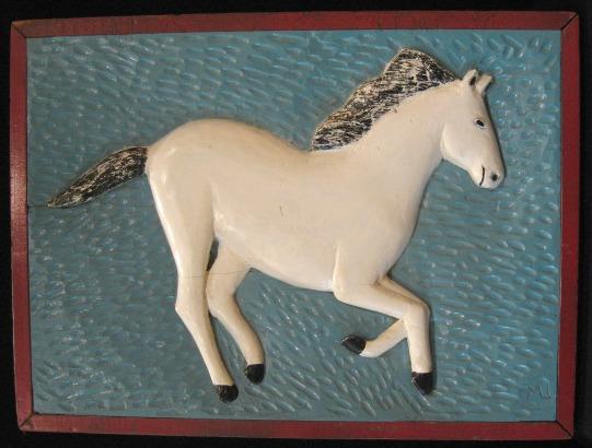 Prancing White Horse. Signed M L. C. 1960.