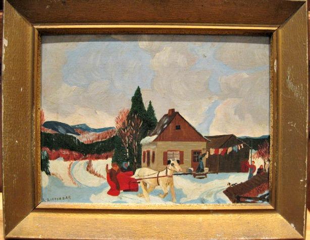 R. Balthazar. Winter Scene. Oil on board. 1930's.