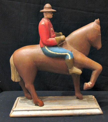 Wes Weagle. Colchester, N.S. Carving of a Mounted Policeman on Horseback.