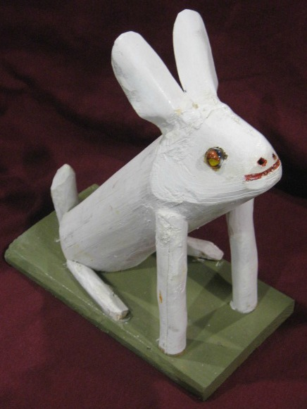Armand Corriveau. Carving of a White Rabbit.