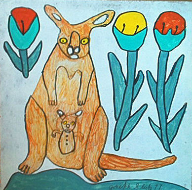 Joe Sleep. Painter. Halifax, Nova Scotia. Kangaroo and Flowers. 1977.