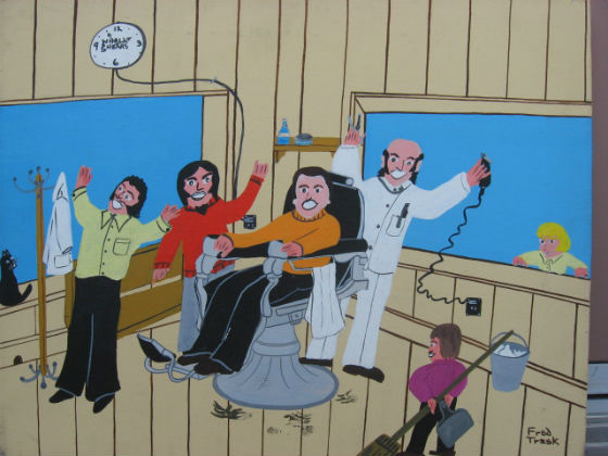 Fred Trask. His Father's Barber Shop. Acrylic on panel.