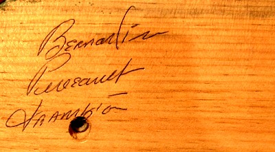 Bernardin Perreault, Frampton, Quebec. His mark.