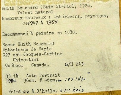 Edith Bouchard. Label.
