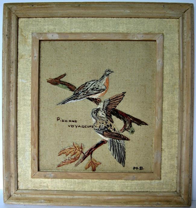 Marie Cecile Bouchard. Baie-St-Paul, Que. Needle-point painting. Passenger Pigeons C. 1940.