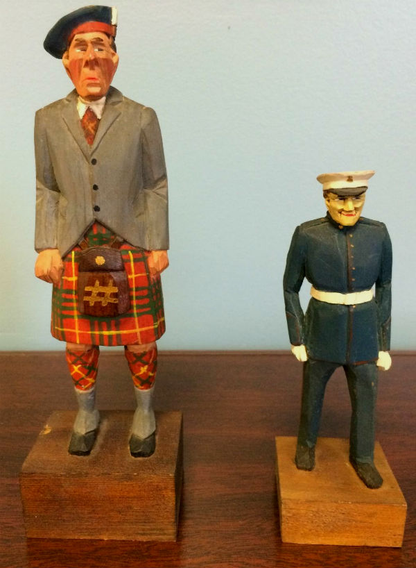 Two carvings by Purvis. Cameron Highlander. And Military figure. 1940's.