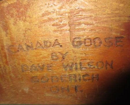 Dave Wilson. Goderich Ontario. His mark.