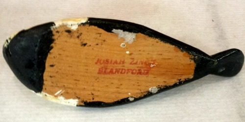 Josiah Zinck. Wood carver. Decoy maker. Blandford, Nova Scotia. Detail of his mark.
