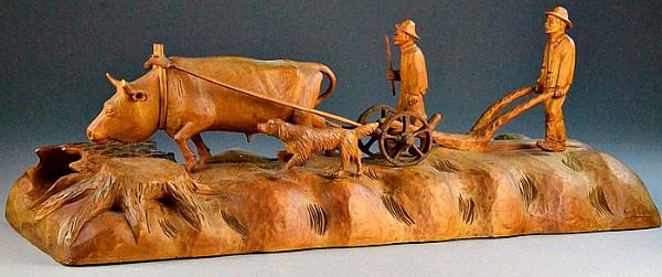 Andre Dube. Carving of Ox and Plough. 1950's.