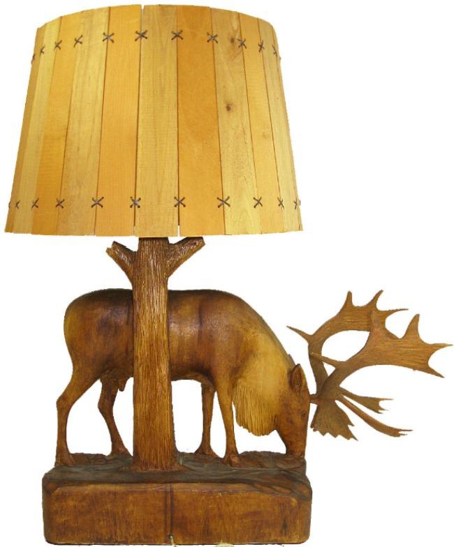 Arthur Dube. Saint-Roch-des-Aulnaies, Quebec.Carving of a Caribou on a lamp base.