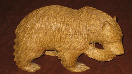 Clément Dubé. Carving of a Bear with a Salmon.