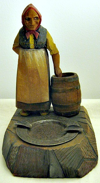 Wood carving by Carl Johan Trygg, Quebec. Woman and Ashtray.