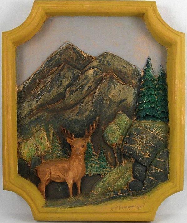 Jean-Paul Bourque. Quebec. Relief carving of a Deer.