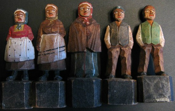 Rosaire Audet. A group of Carved Figures. 1940's.