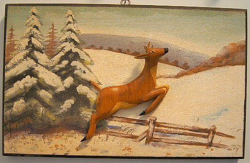 Rosaire Audet. Applied relief carving of a Deer.
