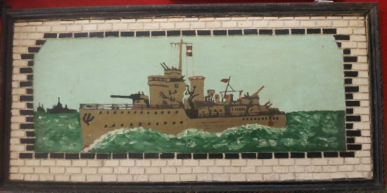 Clyde Farnell. Cornervrook, Newfoundland. Painting of a battleship.