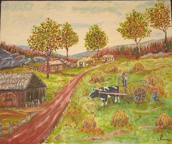 L. Perron. Haying. Oil on Canvas.