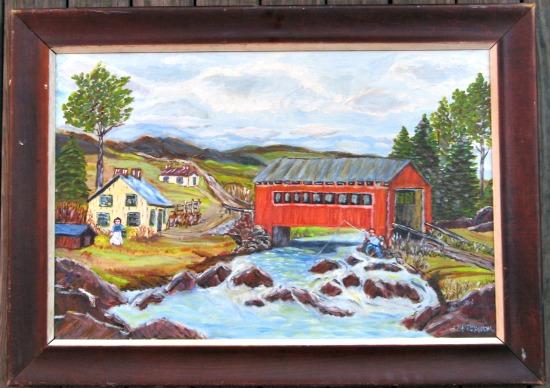 L.Perron. Covered Bridge. Near St. Adelphe. Quebec.