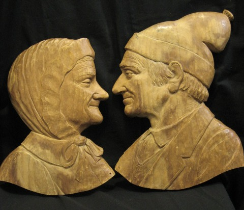 Leo Arbour. Quebec. Two relief carvings. 1940's.