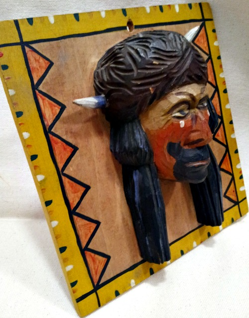 R. Bourbonnais. Quebec. Carved head of a Native American Warrior. 1950's.