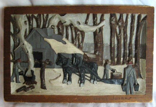 Rene Jutras. Quebec. Relief carving of a Sugar Bush Scene. 1940's.