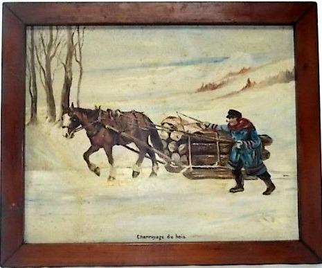 E. Thayer. Painting. Charroyage du Bois. 1920's.