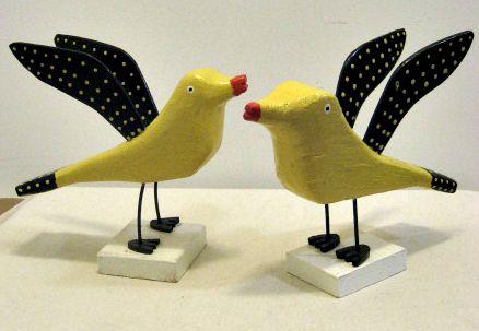 Murray Eisnor Martins River, Nova Scotia. Yellow Birds with Polka Dots. 1990's.