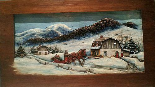 Yvonne Bolduc. Baie-St-Paul, Que.  Relief carving. The Visit. c.1950. Approx. 30 inches long.