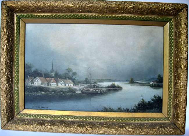 Crawford Slack. Athens, Ont., (1855-1927) 'Along the Richelieu' Oil on Board. Signed.