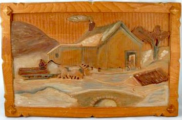 J. Hamelin. Montreal, Quebec. Relief carving of a Sugar Camp.