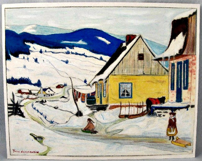 Yvon Normandin. Naive painting on paper. Crayon and coloured pencil.