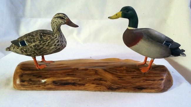 Dave Epp. Winnipeg, Manitoba. Pair of carved Mallards on a stand. 1950's.