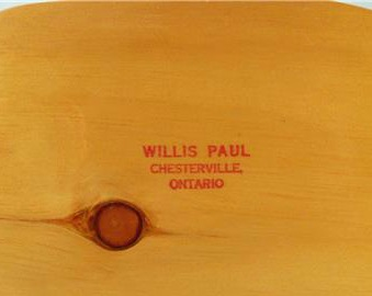 Willis Paul.  Chesterville, Ontario. His mark.