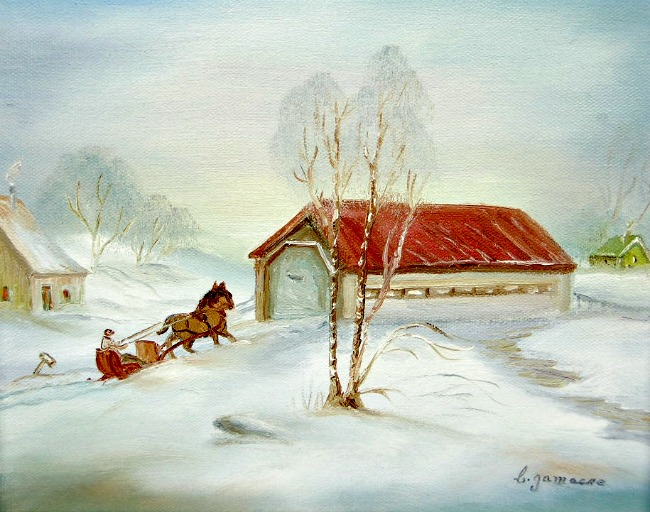 Cecile Gamache Horse and Sleigh.